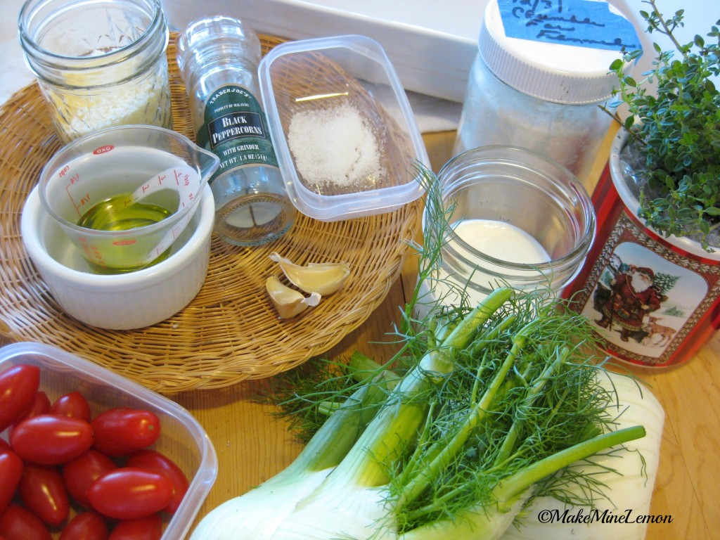 ©MakeMineLemon - Roasted Fennel and Cherry Tomato Gratin Mise en place